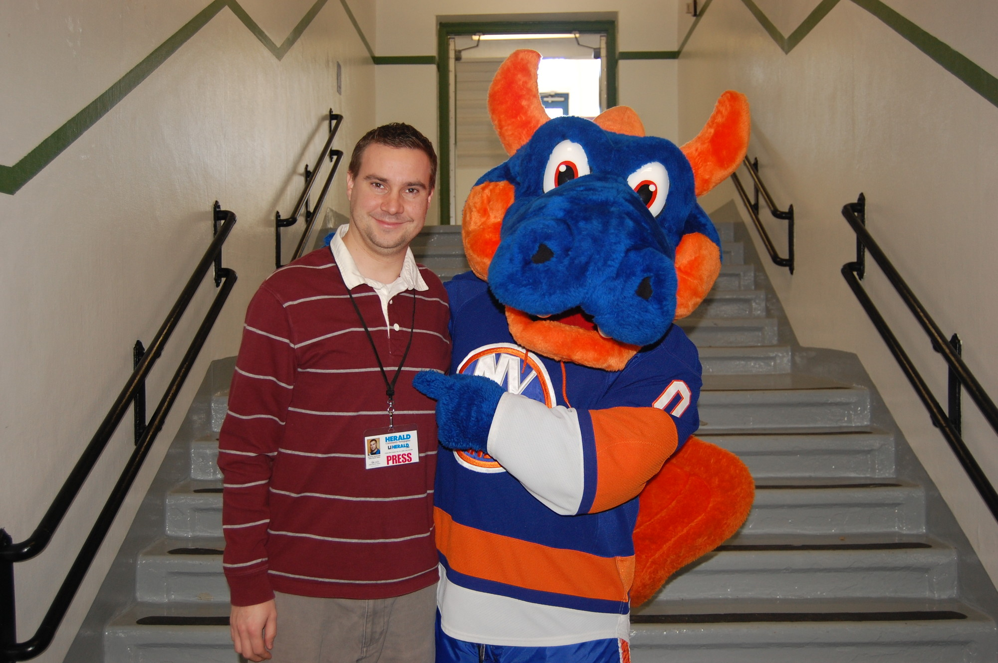Meeting Sparky the Dragon, the mascot of my favorite hockey team, at the Clear Stream Avenue School.
