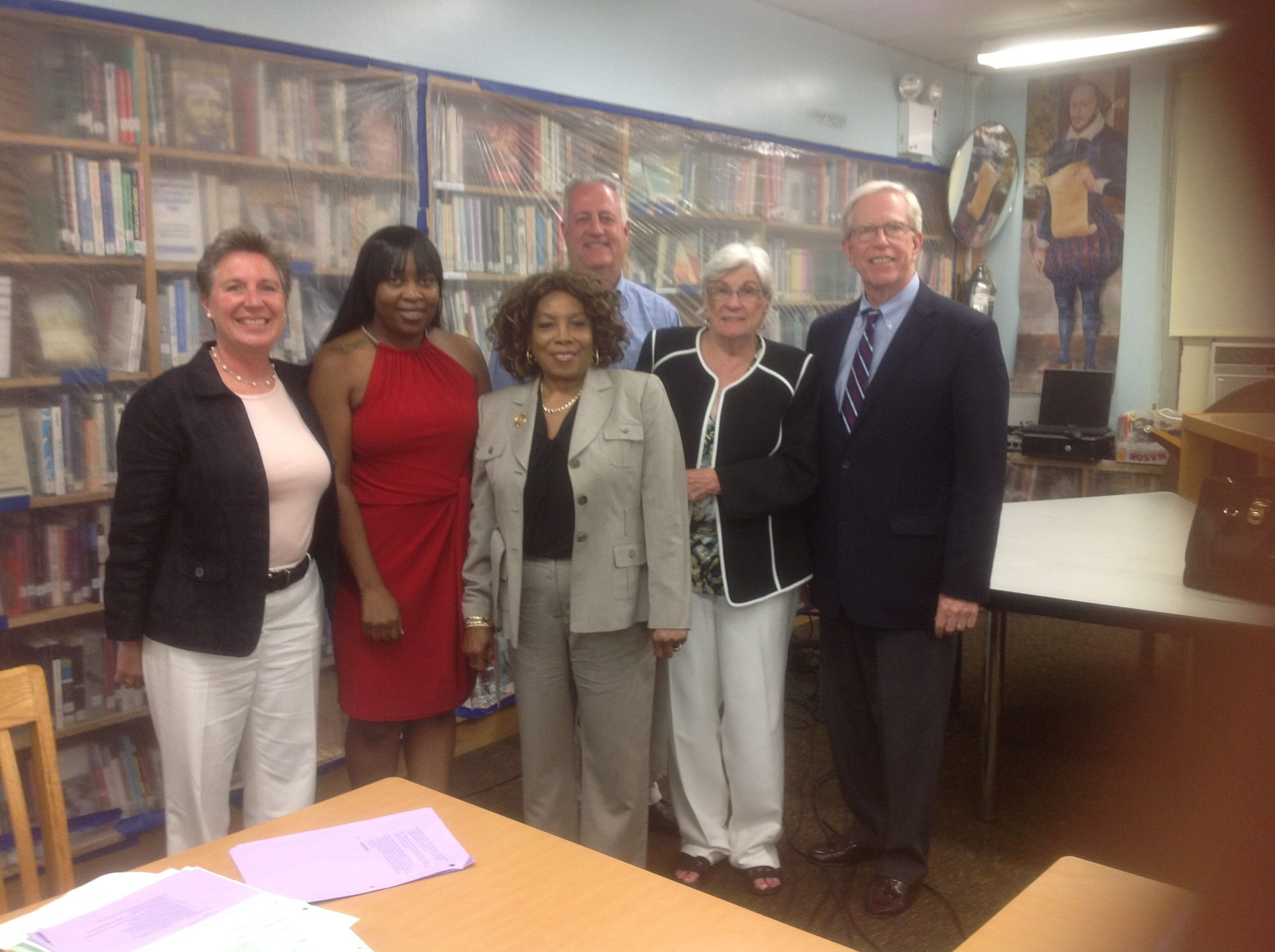 "Hazel ""Scottie"" Coads, front, with Board of Education President Josephine Bottitta, Trustees Danielle Hopkins, John Tulley and Marguerite O'Connor, Superintendent James Hunderfund."