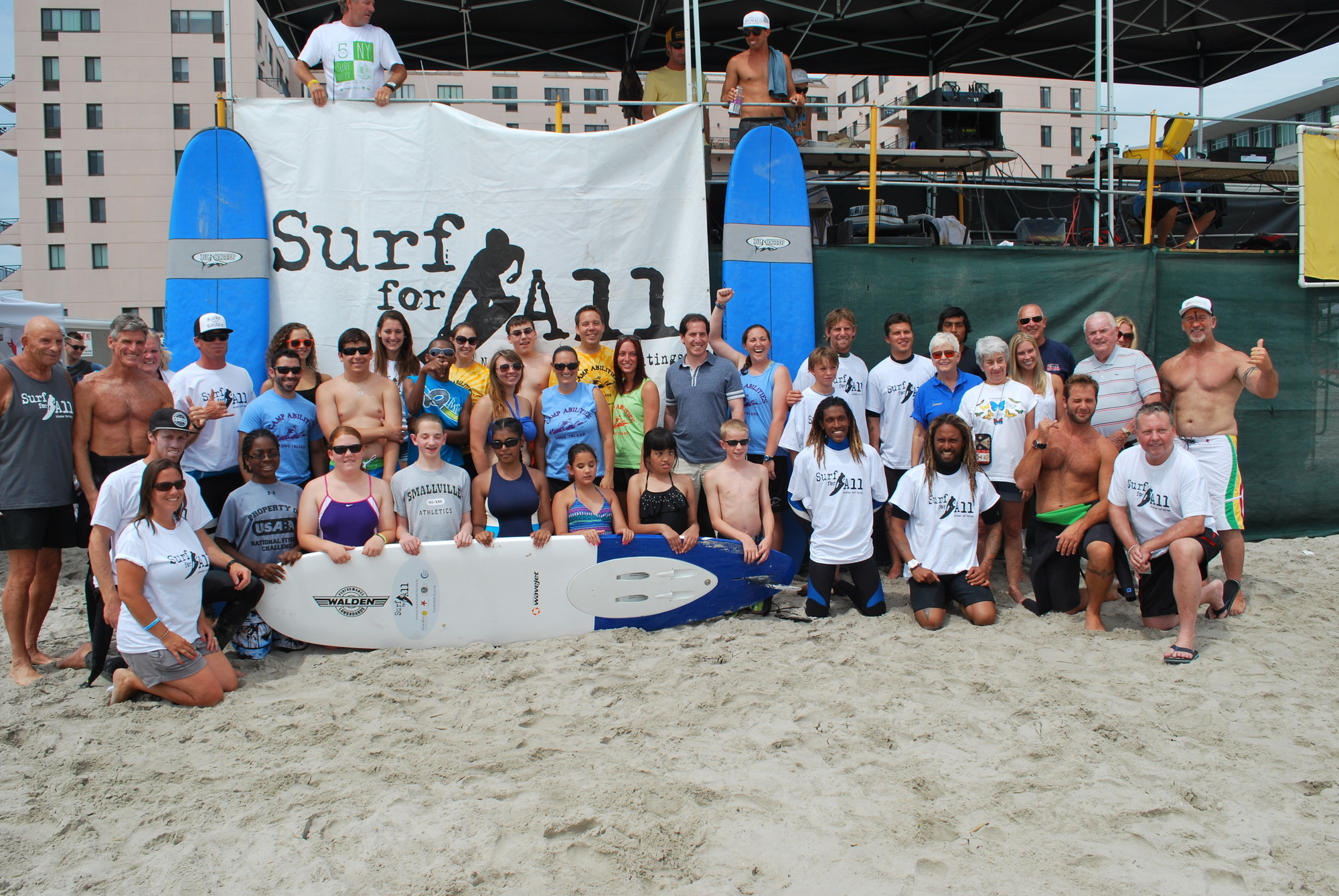 Kids from Camp Abilities joined with instructors from Surf for All at the July 16 event.
