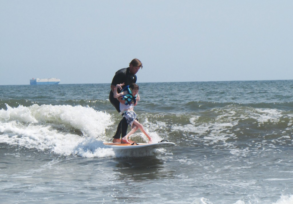 Cliff skudin, left, with Justin Heilmann at the July 17 Surf for All outing.