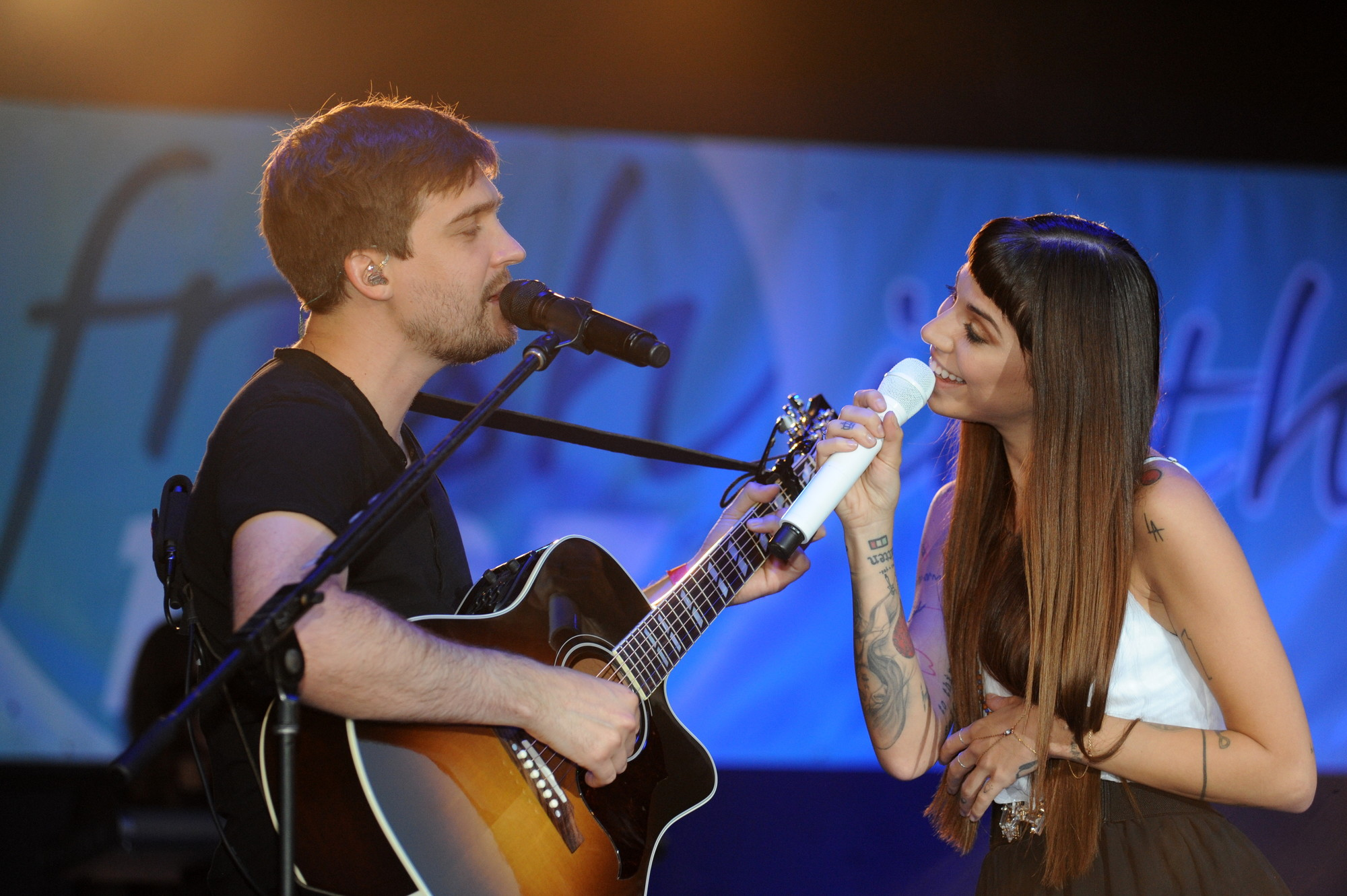 Christina Perri with her guitarist John Hanson.