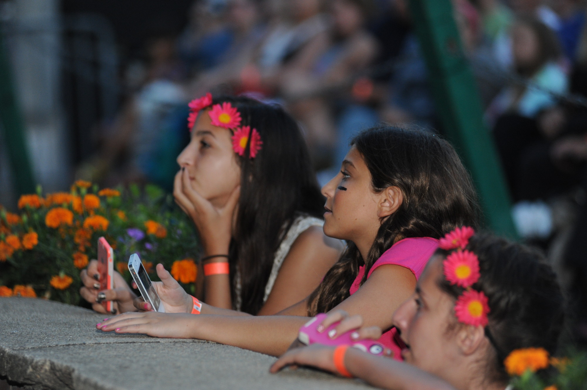 Emily Serpico and Juliette Chun, both 12, and Alexandra Baltas, 13, enjoyed a closeup view of Christina Perri.