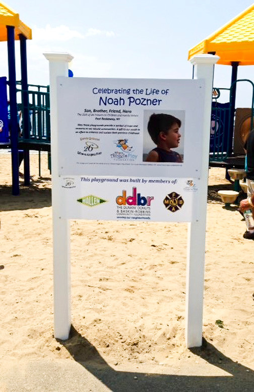 The new playground honors Sandy Hook victim Noah Pozner.