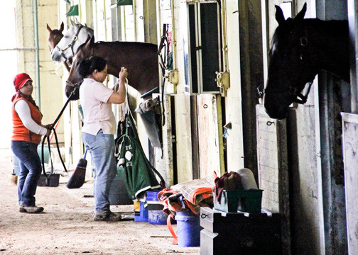 The hours are long and the work is tough for Belmont Park�s backstretch workers. Many backstretch parents said they would be lost without Anna House.