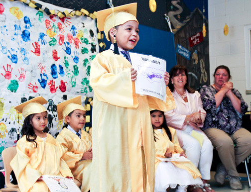 In June, Anna House held its annual graduation ceremony for children who are moving up to kindergarten. Above was Adolfo Aquilar, who said he wants to be a swimmer when he grows up.