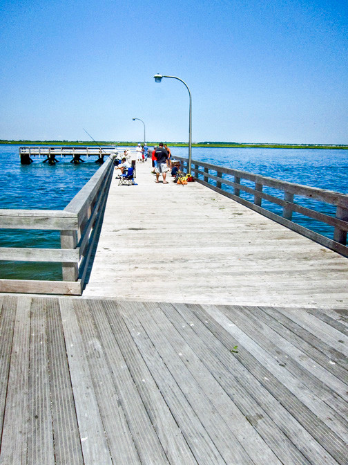 A bayside pier has been restored after being damaged by Hurricane Sandy.