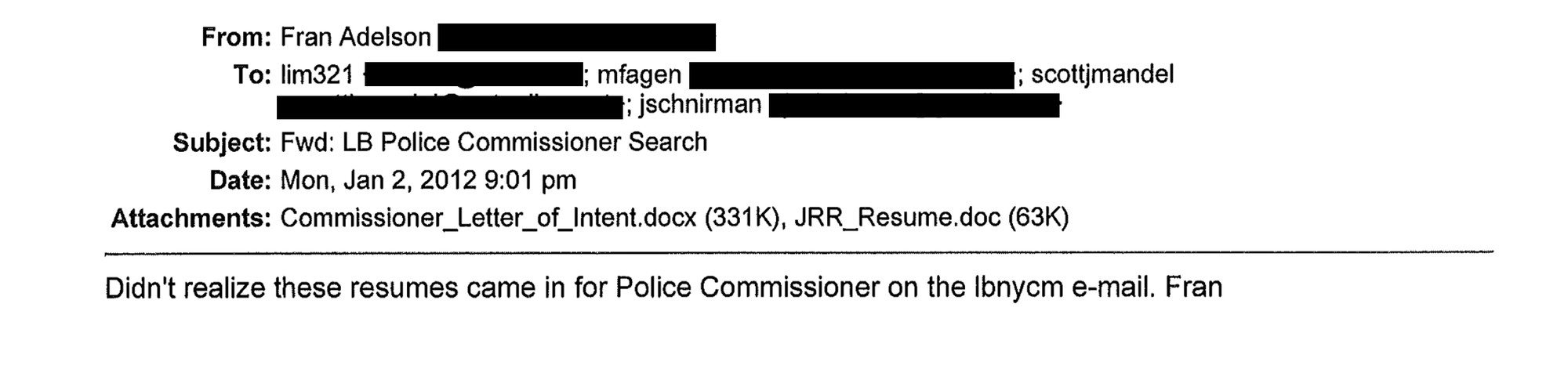 "City officials claim that the original emails, including one pictured above, were ""doctored."" The Herald redacted personal email addresses."