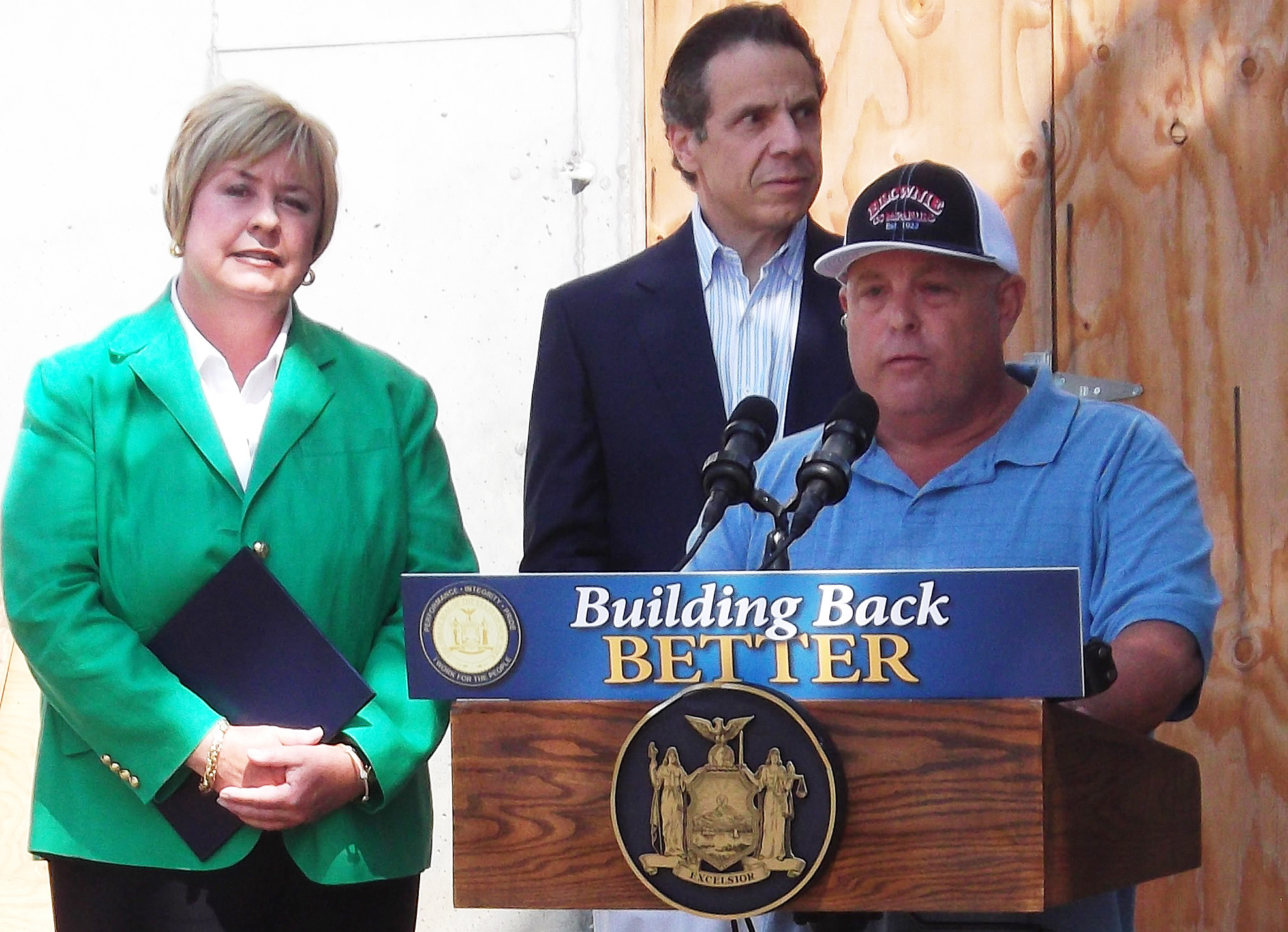 Sandy victim Danny Ehrick joined Governor Cuomo at a press conference in Freeport on Wednesday.
