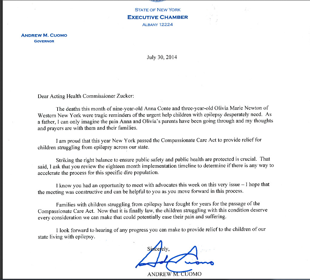 Gov. Andrew Cuomo sent a letter to the acting state health commissioner asking him to look into expediting distribution  of medical marijuana to help severe seizure sufferers.