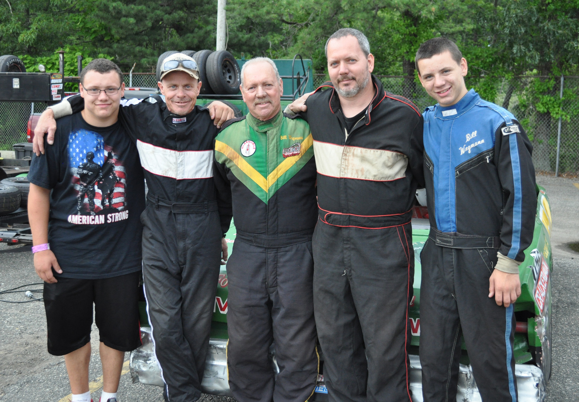 William Wegmann, center, with from left, grandson Andrew, stepson Ray Shannon, son William, and grandson Derek, is still racing strong at nearly 70 years old.