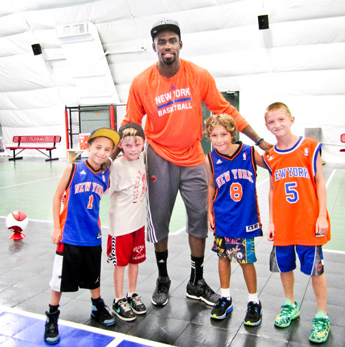 Tim Hardaway Jr., who is now preparing for his second NBA season with the New York Knicks, visited Coleman Country Day Camp in Merrick on July 23. He spoke with hundreds of campers and showed them some basketball moves.