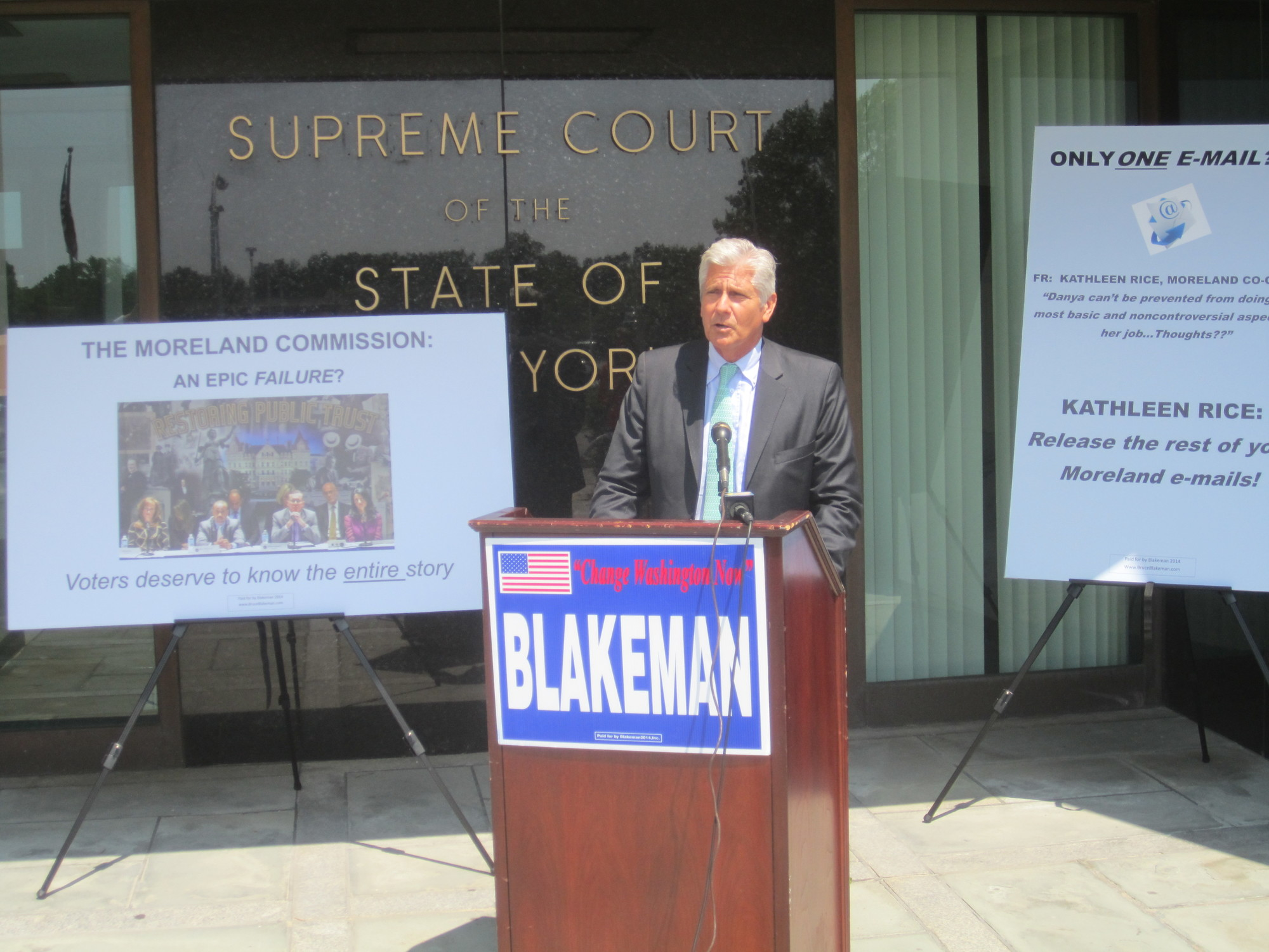 Bruce Blakeman, a former presiding officer of the Nassau County Legislature and a Republican candidate for Congress, held a press conference on July 31 in Mineola, where he called for his Democratic opponent, District Attorney Kathleen Rice, to explain her role at the Moreland Commission, a state anti-corruption panel she co-chaired.
