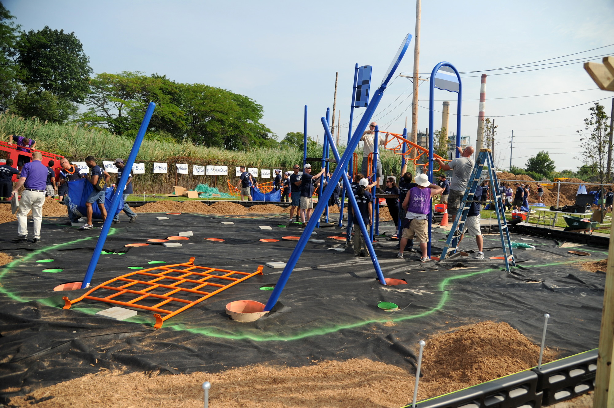 More than 200 volunteers helped to build a new park at 184 Waterford Road.