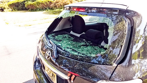 A car in Mill Brook had its rear windshield smashed in July, part of a pattern of vandalism in the community.