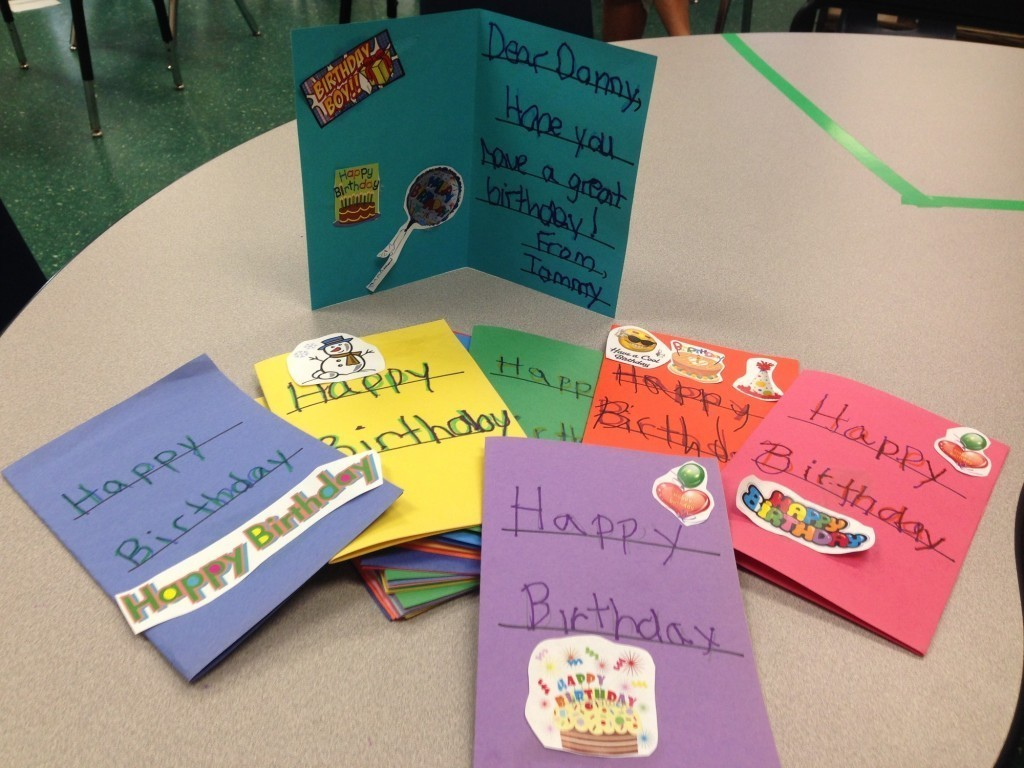 Special education students enrolled in the North Bellmore School District's extended school year made cards for Danny Nickerson, a 6-year-old Massachusetts boy who has an inoperable brain tumor.