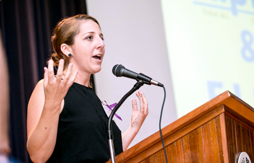 RipLB founder Jenn Lebowitz welcomed the audience at the group's July 25 event.