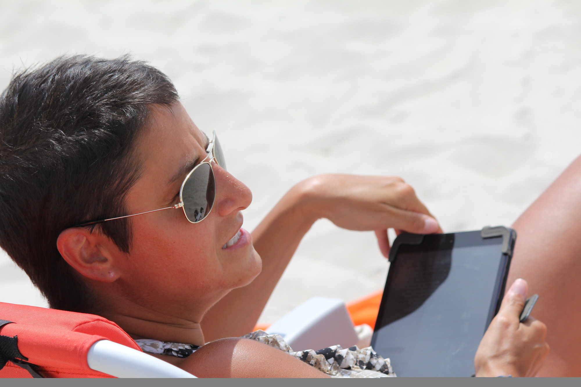Valerie Polizzotto enjoyed the benefits of having free Wi-Fi on the beach during her visit to Jones Beach State Park on Aug. 6, when the new service was announced.