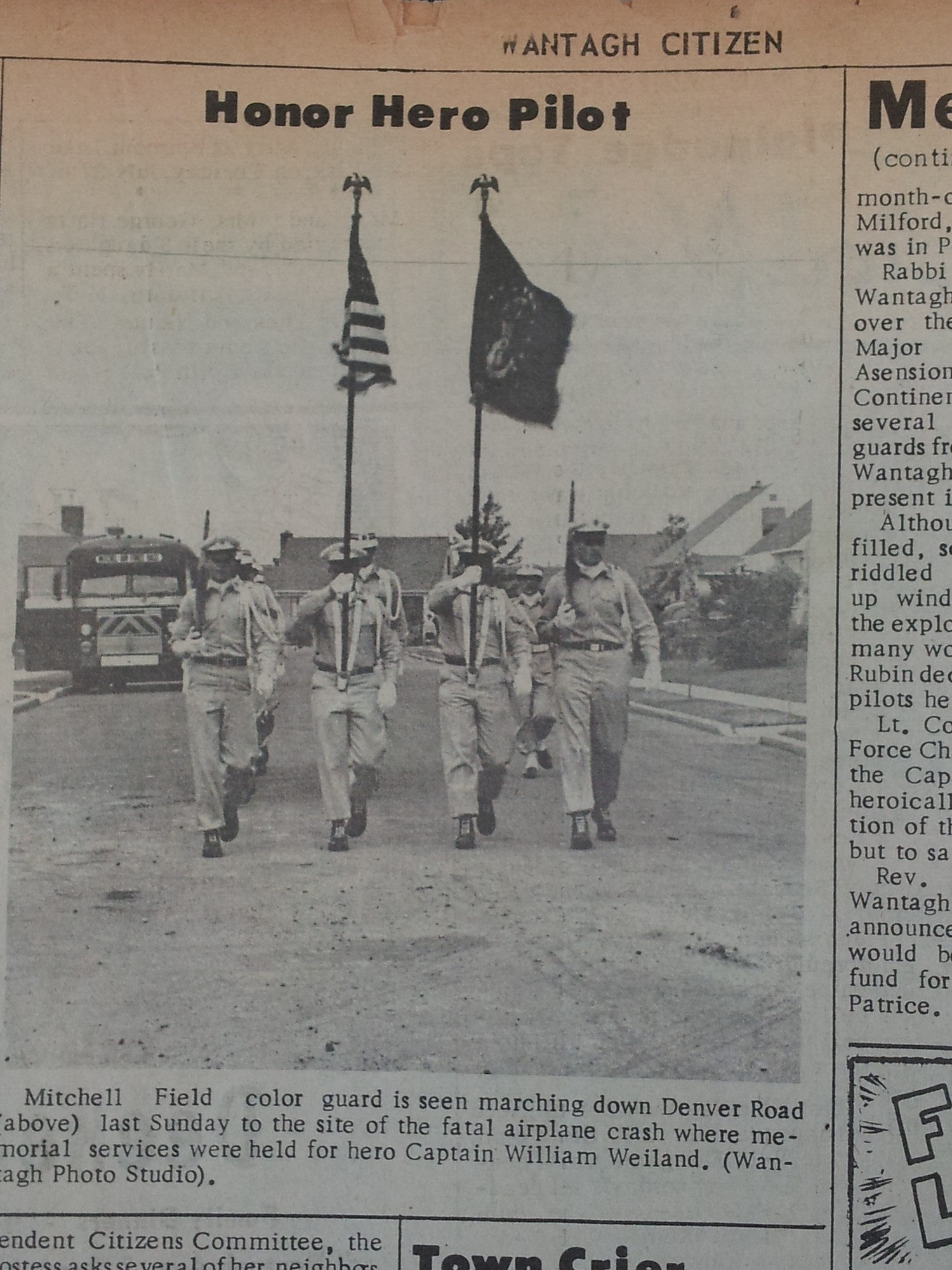 The Mitchell Field colorguard marched in honor of the pilot who crashed on Denver Street in Wantagh in 1954.