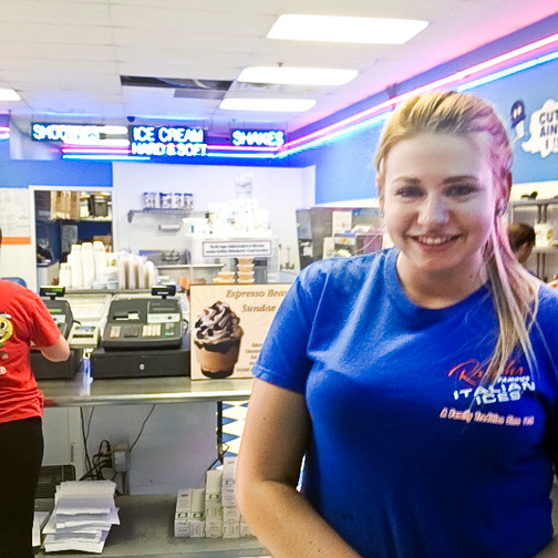 Kylie Zubel, 19, of Seaford, is working at Ralph's Italian Ices for the fourth straight summer.