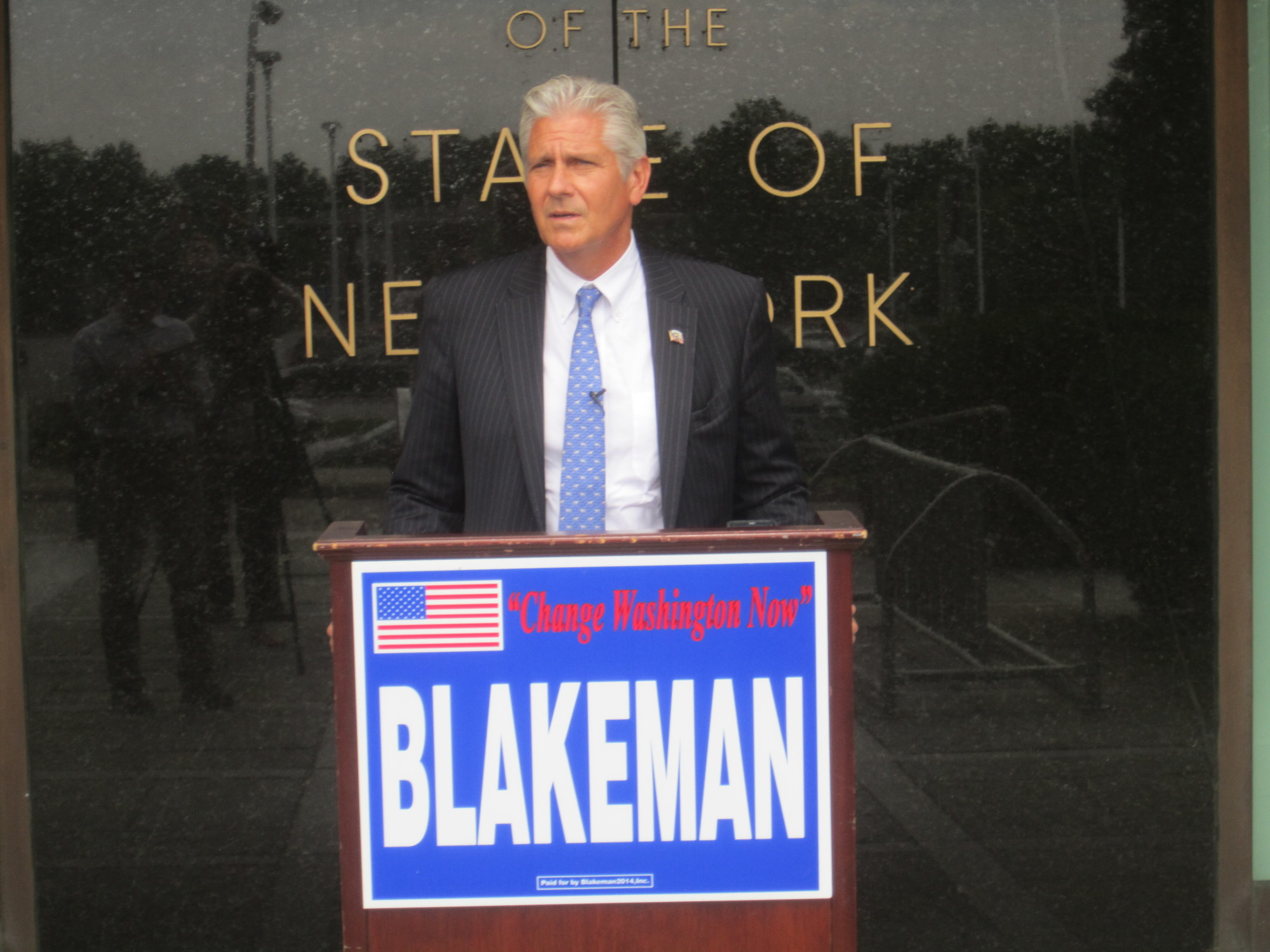 Bruce Blakeman, a former presiding officer of the Nassau County Legislature and a Republican candidate for Congress, held a press conference on Aug. 6 in Mineola.