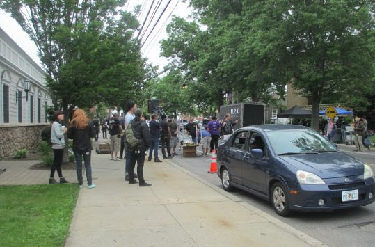 Filming a movie scene on Atlantic Avenue in East Rockaway.