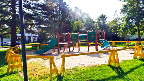 Ground bees live in the warm sand beneath this barricaded Westwood Park play area.