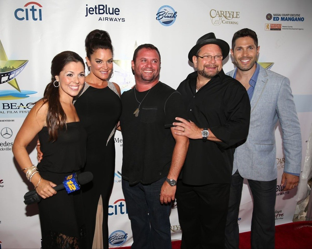 Elisa DiStefano, far left, festival co-founder Ingrid Dodd, movie producer and Long Beach resident Scott Franklin, comedian Joey Kola, and festival co-founder Craig Weintraub.