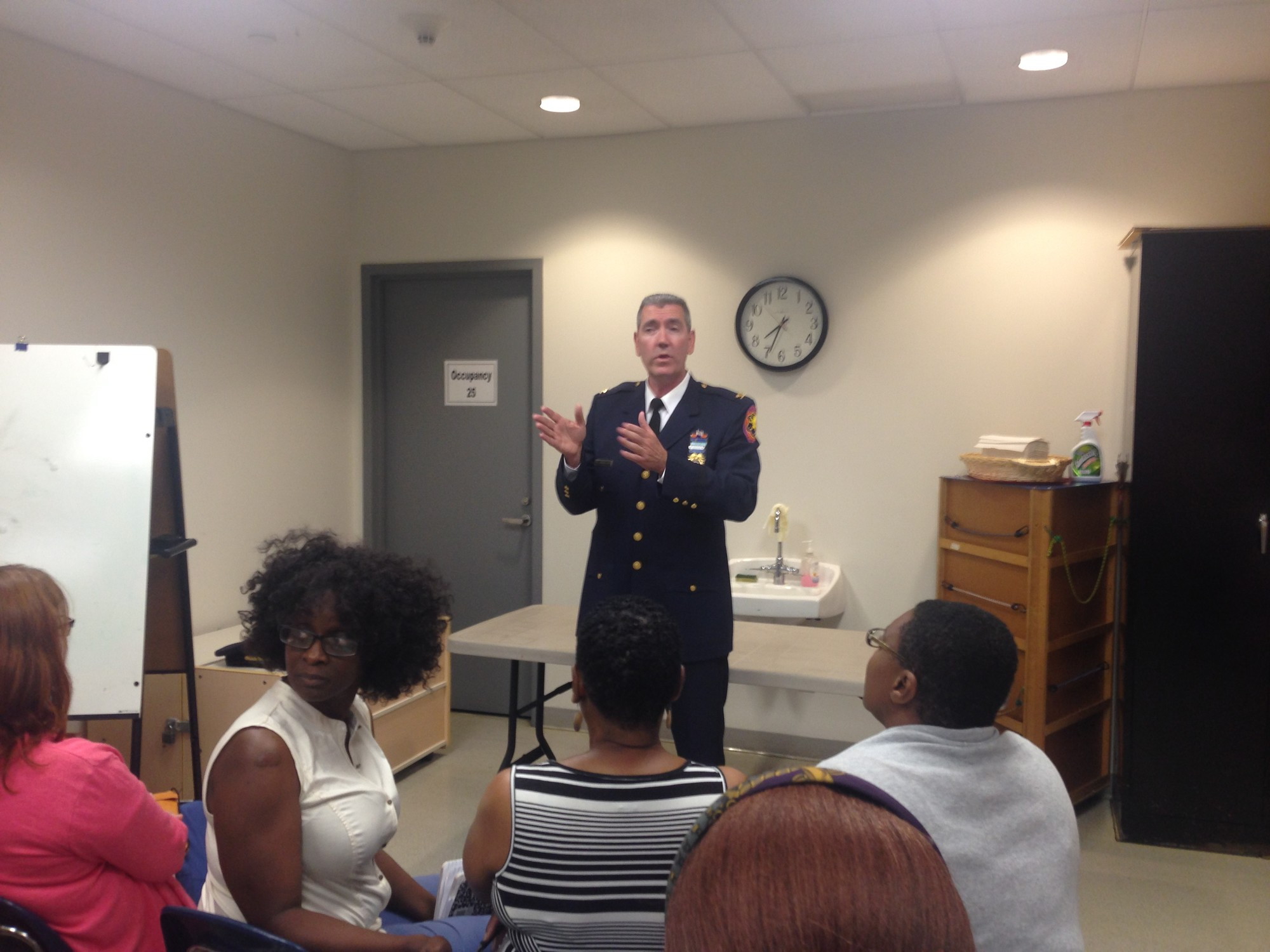 Inspector Dan Flanagan, of the Nassau County Police Department's 1st Precinct, addressed residents at a community forum last week at the Baldwin Public Library. The forum was organized in response to a fatal shooting on Grand Avenue on Aug. 2.