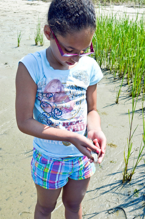 Teagan Wulff-Vanderpuije, 8, examined a fish from the net