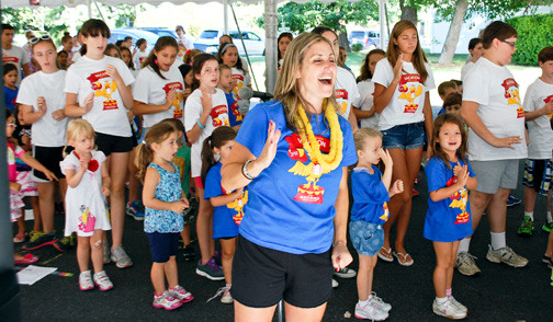 Nancy Fucarino, the musical director for the program, led the children in song each morning.