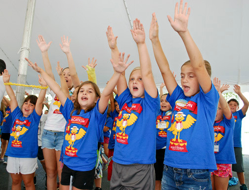 Each day of vacation Bible school at St. Frances de Chantal Church in Wantagh started out with songs and prayers under the big tent. The program ran from Aug. 4-15 at the parish school.
