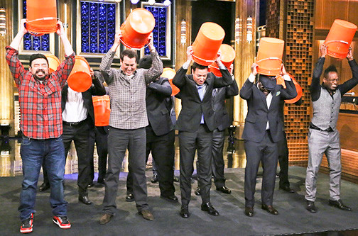 Jimmy Fallon, actors Rob Riggle, Horatio Sanz, The Roots and Tonight Show announcer Steve Higgins took the ALS challenge last week. The challenge has swept through celebrities, professional athletes, politicians and others throughout the country since late July.