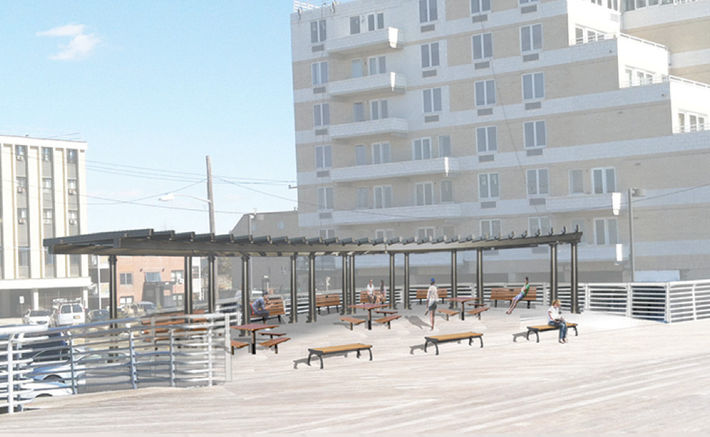 "Sustainable Long Island presented renderings of what some new amenities could look like on the boardwalk, like shaded ""bump-outs,"" seen here."