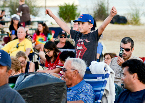 10-year-old Joe Kelly, of Valley Stream, was revved up waiting for the concert to begin.