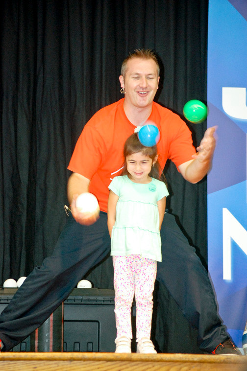 Jaylyn Klun, 4, was on stage to help out with a juggling act.
