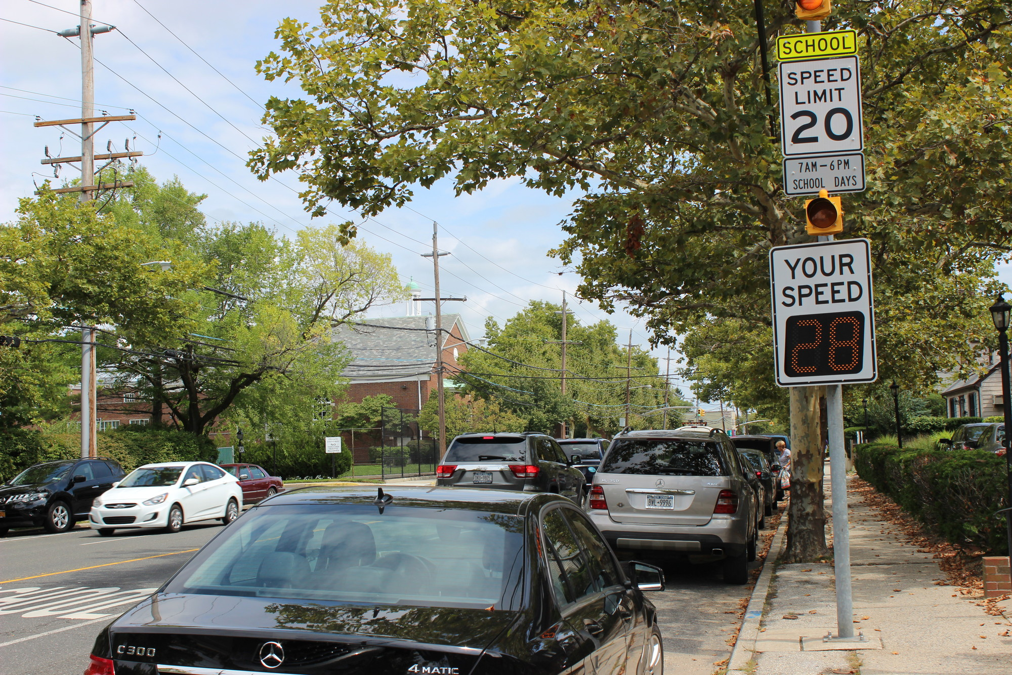 Hewlett-Woodmere School District officials had two speed monitors installed several years ago on Broadway. near Hewlett Elementary School, due to speeding motorists.