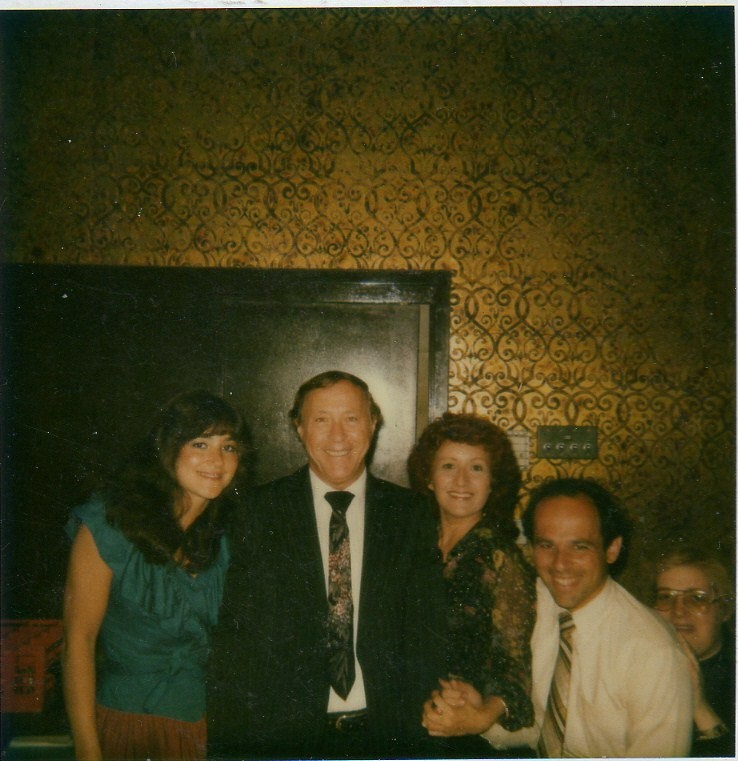 North Woodmere resident Jackie Spector Linder was both a guest and employee at Kutsher's Hotel and Country Club. From left were dining room hostess Linder, maitre d' Abe Barrish, dining room captain Sylvia Lewis, assistant maitre d' Bruce Aymes and dining room hostess Terry during the summer of 1982.