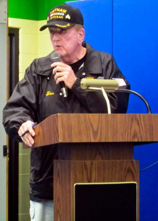 James O�Neill, a Vietnam War veteran and second vice commander of the Merrick American Legion, spoke this spring at a Merrick Board of Education meeting. The board has postponed a vote on veterans� tax exemptions to Sept. 9.