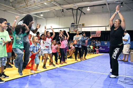 Zumba instructor Angela McCain got the crowd moving.