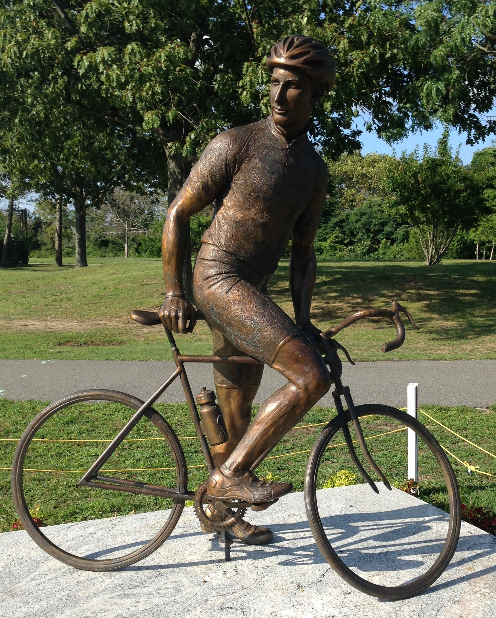 This statue of a cyclist greets bikers when they enter the Wantagh Parkway trail from Cedar Creek Park.