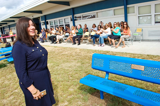Former Mandalay Principal Dr. Lynne D'Agostino was all smiles after seeing that a bench was dedicated in her honor.
