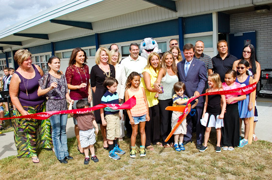 Wantagh School officials and parent leaders cut the ribbon on the new playground at Mandalay Elementary School on Sept. 8.