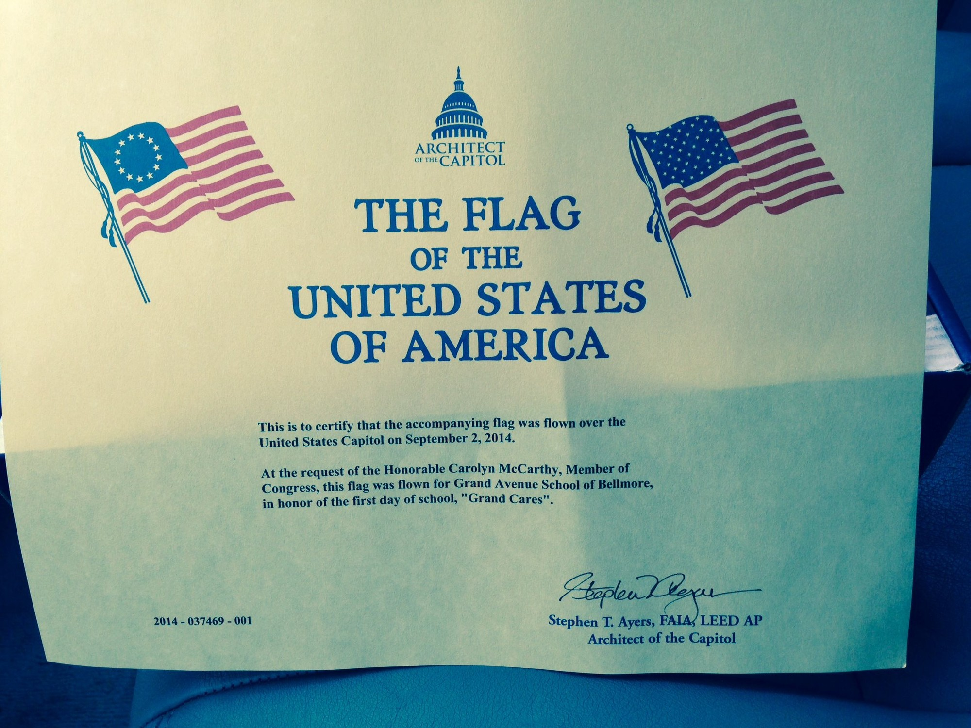 Flag flown over capitol in honor of grand ave herald community grand avenues congressional recognition is pictured above 1betcityfo Images