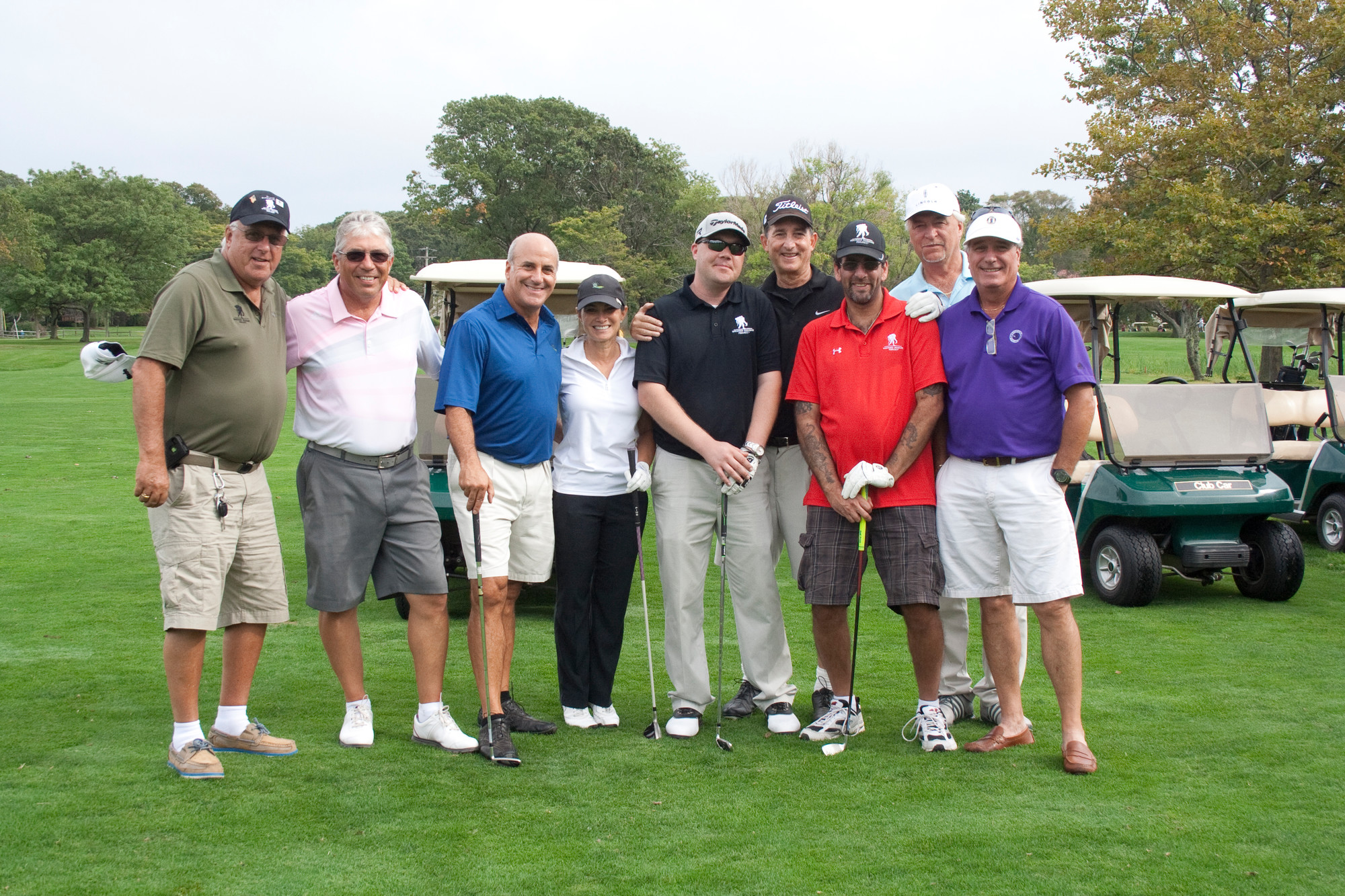Military veterans from the Wounded Warrior Project and Lawrence club members played a round of golf. From left were Paul Hastings, an ambassador for the Wounded Warrior Project, Henry Daley, Gary Segal, Donna Martocci, Veteran Mark Dennington, Jack Eig, veteran Tom Amendola, John Maser and Robert Weinberg.