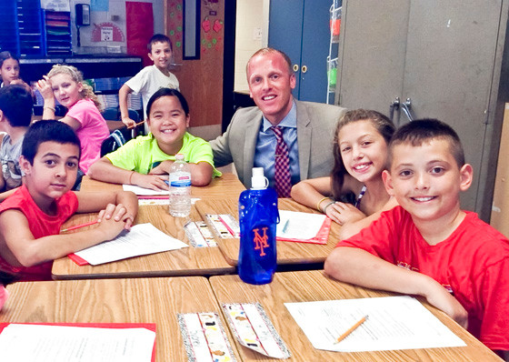 New principal Eric Walter sat in on a classroom at Rhame Avenue Elementary in East Rockaway