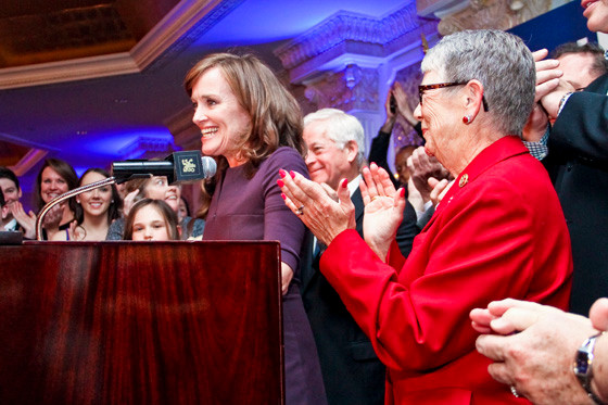 Kathleen Rice, who was running to replace Carolyn McCarthy, right, spoke to her supporters Tuesday Night after she was declared the victor in her race with Bruce Blakeman.