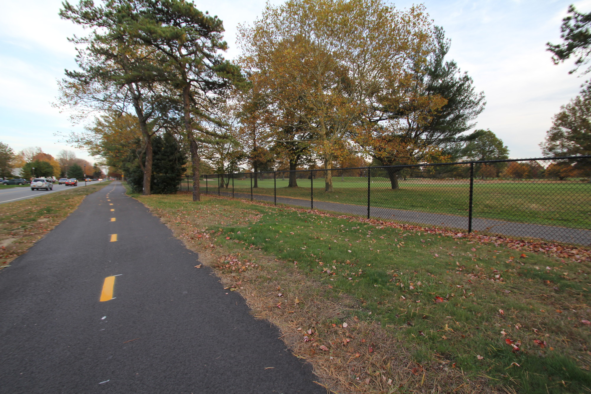 A mile-long Motor Parkway Trail segment on Salisbury Park Drive, right, was recently completed by Nassau County.