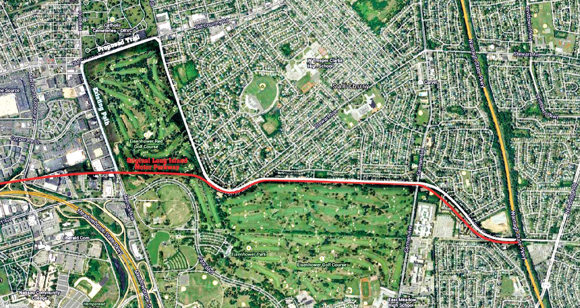 The proposed trail will closely follow the historic Long Island Motor Parkway along Salisbury Park Drive, circling around Eisenhower Park and continuing southeast towards the Wantagh Parkway.