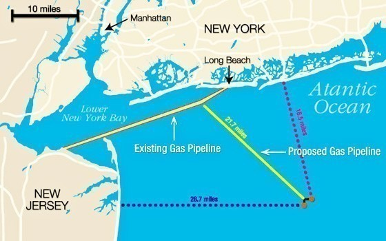 This image from Liberty Natural Gas's website shows where the company wants to build a liquefied natural gas terminal in the Atlantic Ocean. The company would need to lay 21.7 miles of subsea pipeline to connect its terminal to the existing Transco Lateral, which extends from New Jersey to Long Beach.
