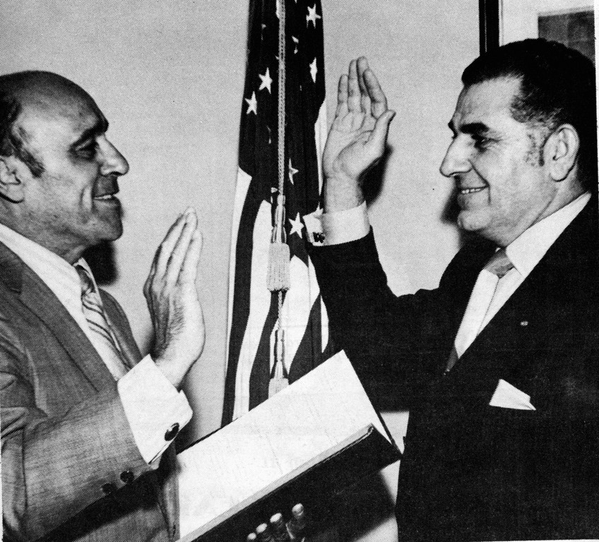 Former Cedarhurst Mayor Nicholas Farina, left, administered the oath of office to Andrew Parise in 1971.